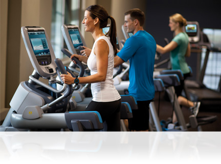 The Precor 880 Line features a touch screen console that provides an integrated fitness and media experience. But make no mistake, with the 880 Line, fitness is foremost.